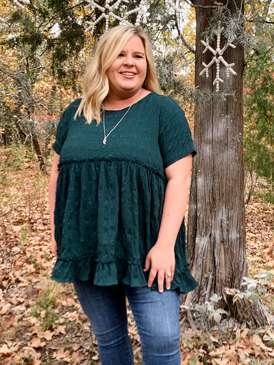 The Kayla Ruffles Top - Hunter Green