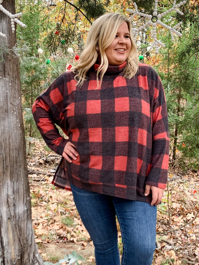 The Lizzy Cow Neck Plaid - Black & Red