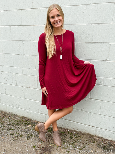 The Jamie Long Sleeve Dress - Maroon