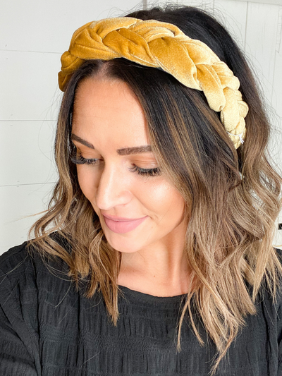 CHUNKY BRAIDED HEADBAND - GOLD