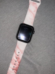 Apple Watch Band- Pink & White Marble Silicon