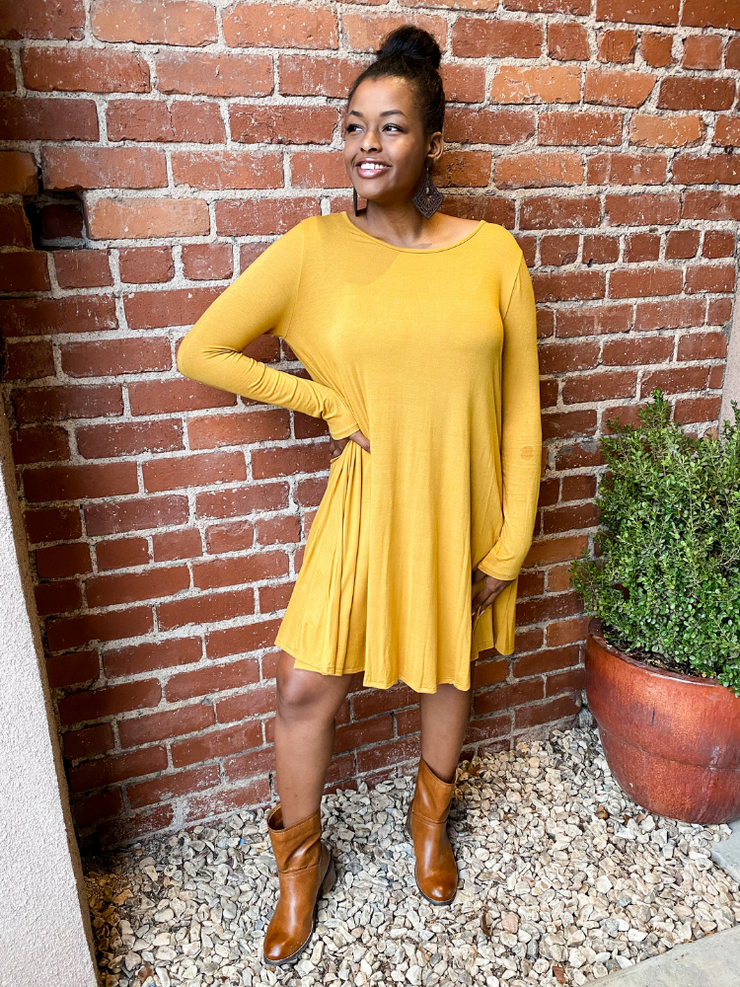 The Jamie Long Sleeve Dress - Mustard