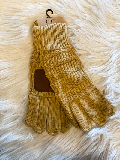 CC Beanie Cable Knit Gloves- Camel