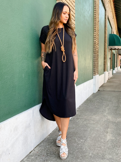 The Debra Ribbed Dress-Black