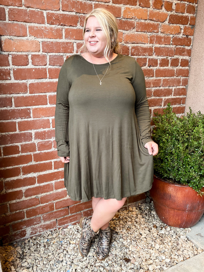 The Jamie Long Sleeve Dress - Olive