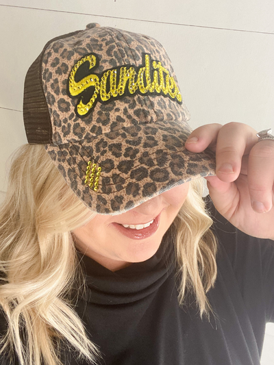 Sandite Bling Truckers Hat -  Leopard/Brown
