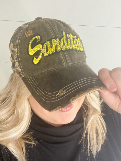 Sandite Bling Truckers Hat -  Brown/Camo