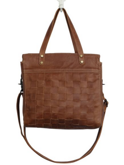 Myra Handbags-SQUARE ONE LEATHER AND HAIRON BAG
