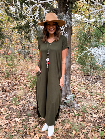 The Julia Jersey Maxi Dress - Olive