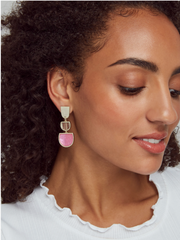 Kendra Scott: Luna Drop Earring-Gold/Pink Mix