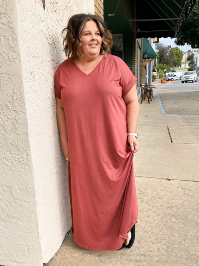 The Julia Jersey Maxi Dress - Marsala