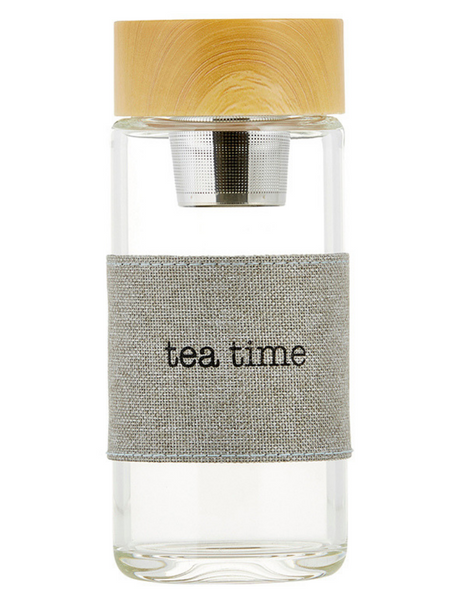 Tea Glass Infuser Bottle- Tea Time