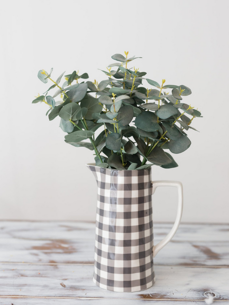 Stoneware Pitcher- Black Gingham