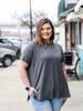 Piko Style Boyfriend Top in Charcoal