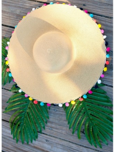 Pom-Pom Floppy Hat- Multicolor