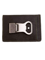 Leather Money Clip with Beer Opener- Brown