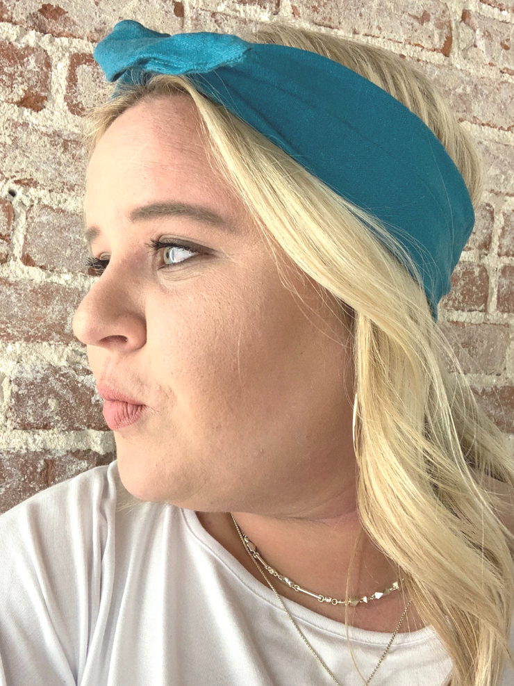 Byrd Headband- Teal Linen