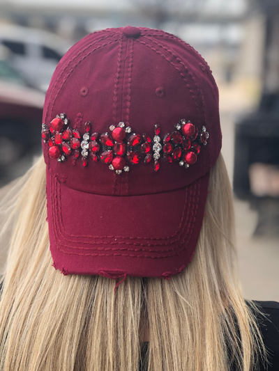 Emily Glitz Distressed Ball Cap- Burgundy