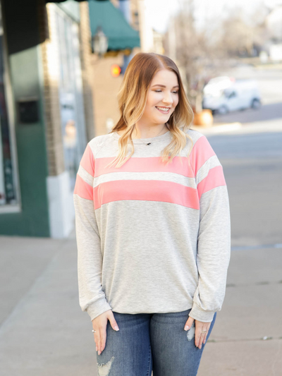The Stella Color Block Tunic- Grey w/ Coral