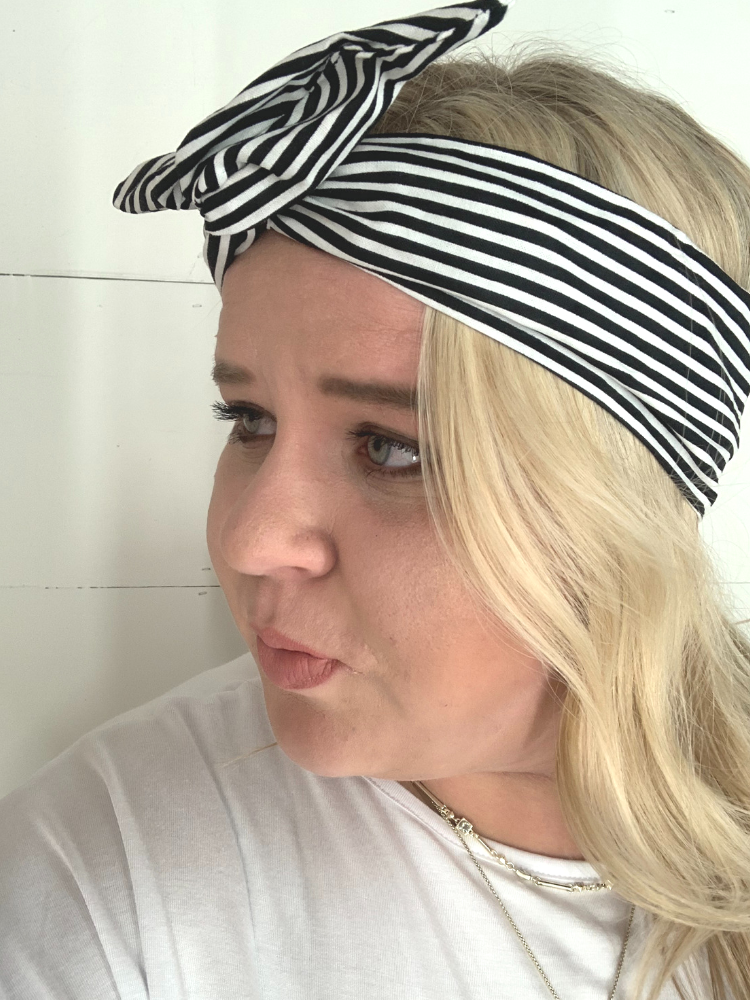 Byrd Headband- Black & White Stripe