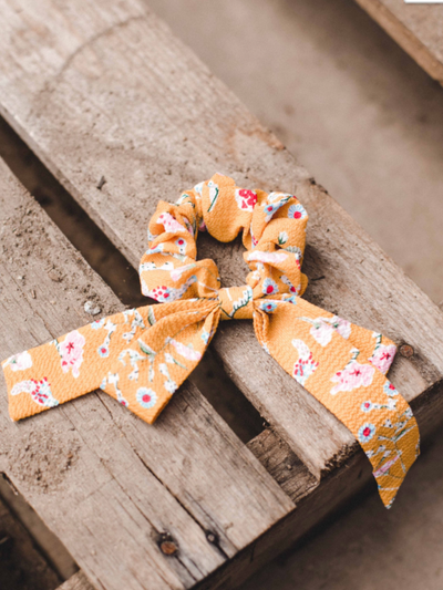 Bow Hair Scrunchie- Mustard Floral