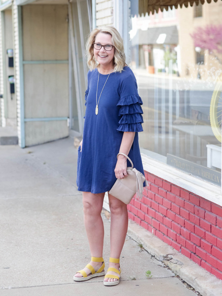 The Lauren Ruffled Sleeve Dress-Navy
