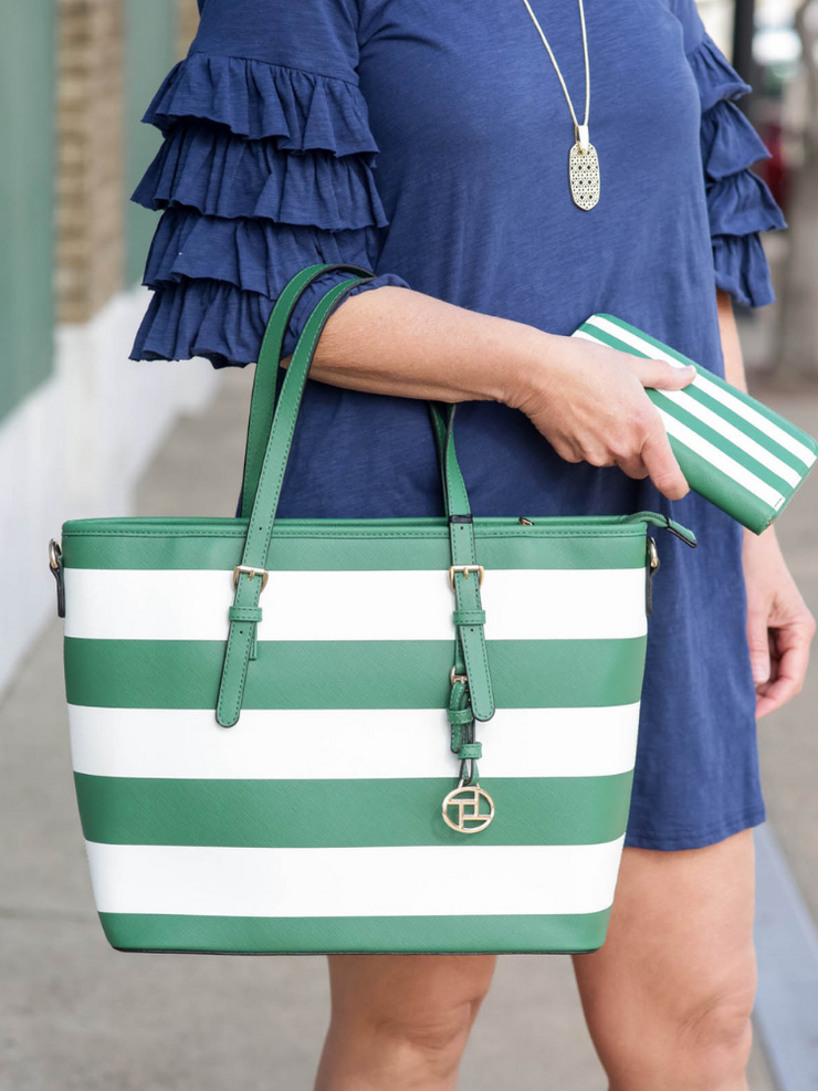 Summer Days Striped Tote & Wallet-Green