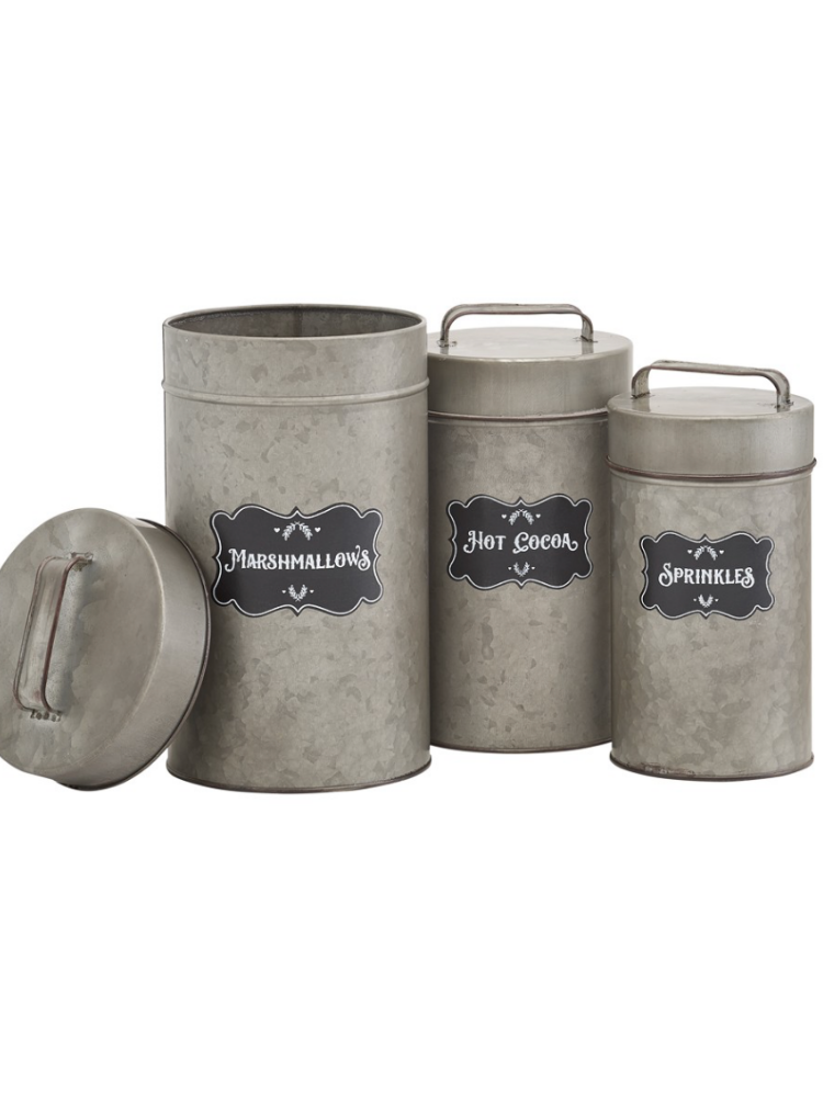 Canisters Set of 3- Marshmallow, Hot Cocoa, Sprinkles