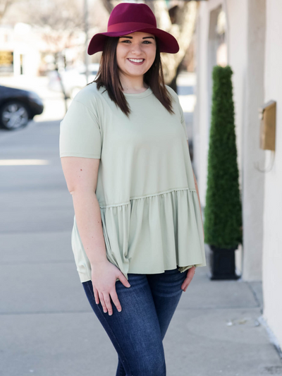 Drop Waist Ruffled Shirt- Light Sage