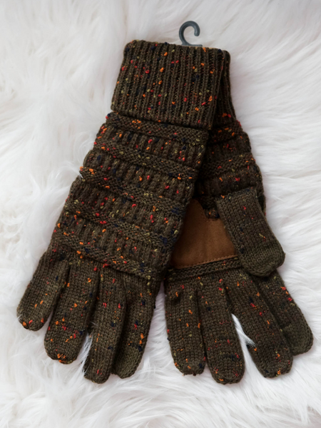 CC Beanie Speckled Cable Knit Gloves- New Olive