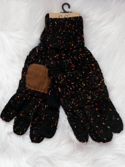 CC Beanie Speckled Cable Knit Gloves- Black