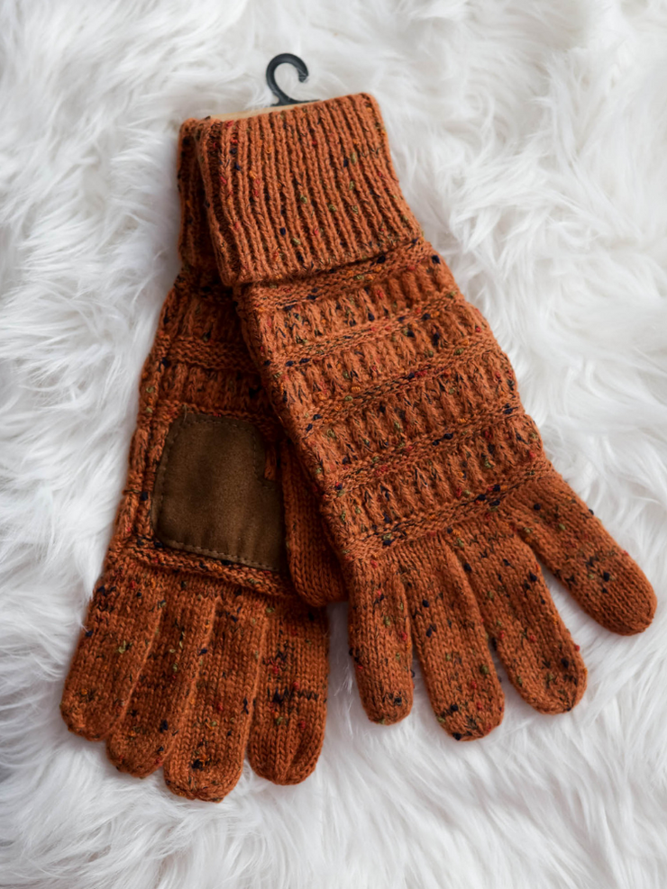 CC Beanie Speckled Cable Knit Gloves- Rust