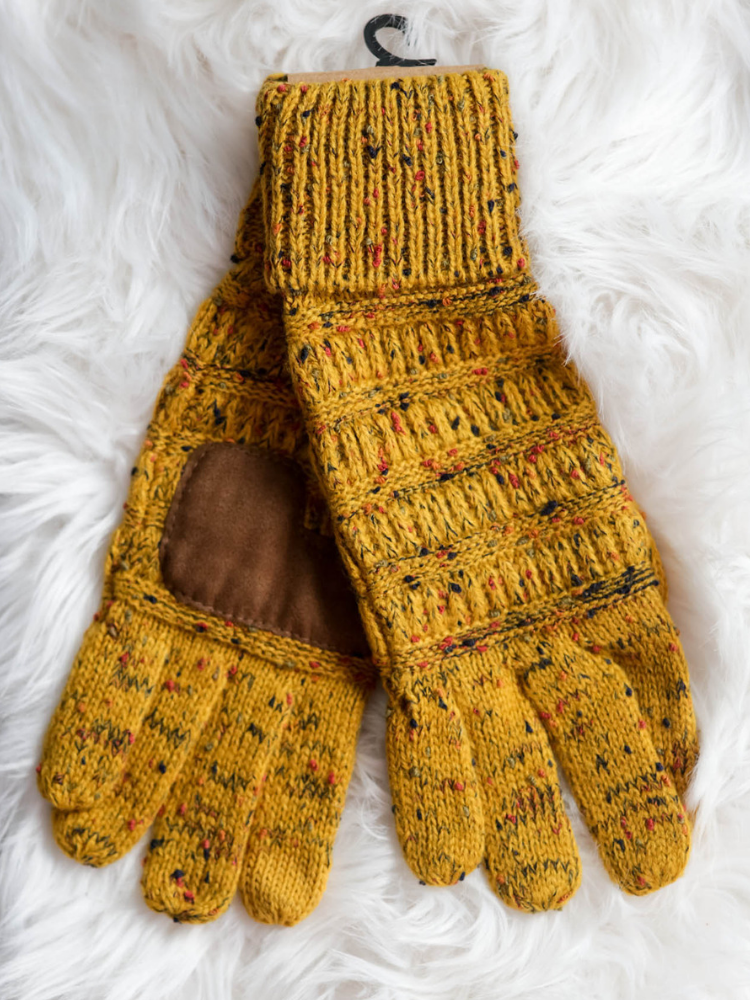 CC Beanie Confetti Cable Knit Gloves- Mustard