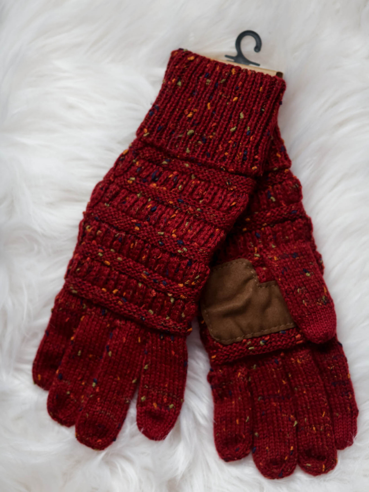 CC Beanie Speckled Cable Knit Gloves- Burgundy