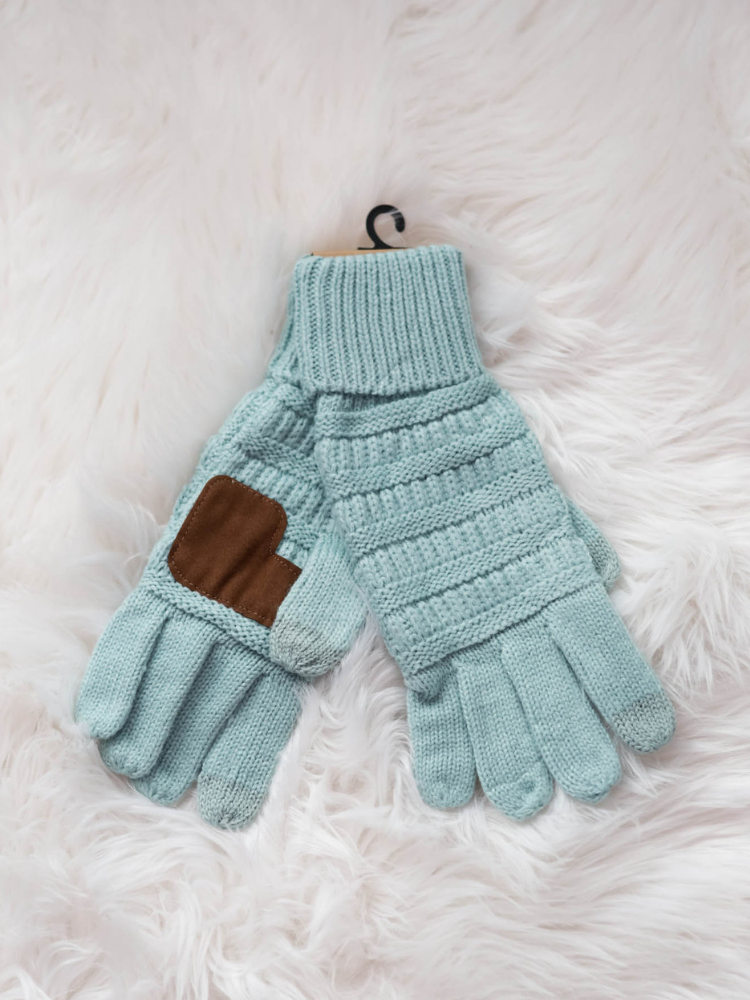 CC Glove Cable Knit Fleece Lining-Mint