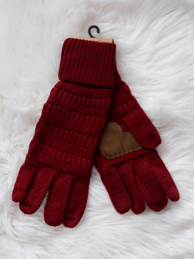 CC Gloves Cable Knit Fleece Lining-Burgundy