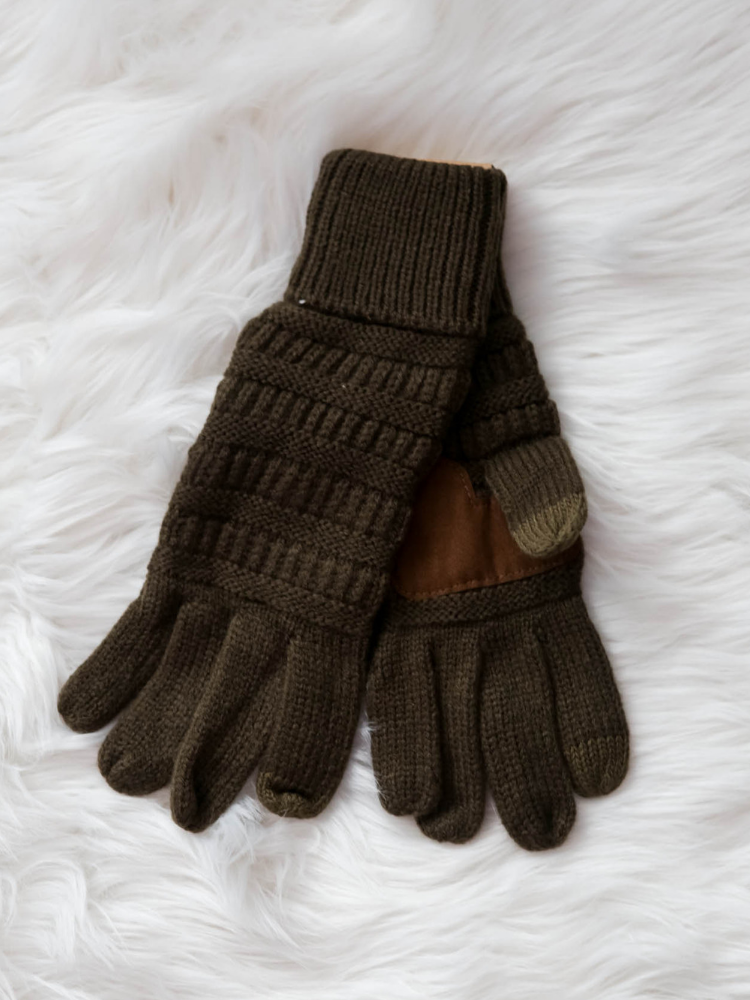 CC Glove Cable Knit Fleece Lining-New Olive