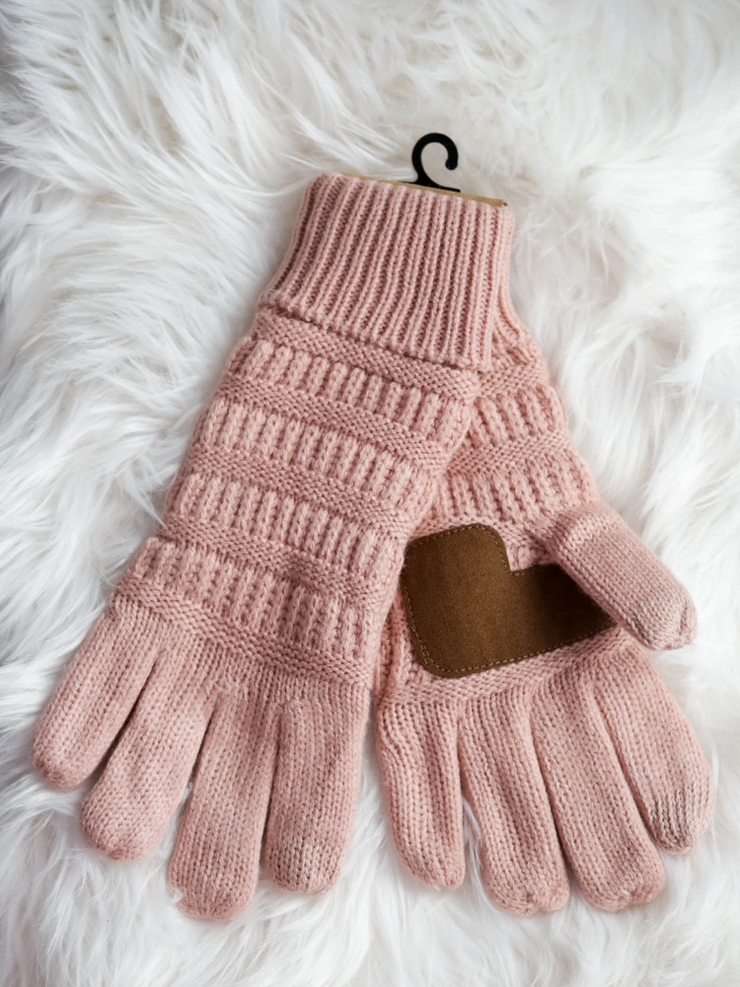 CC Gloves Cable Knit Fleece Lining-Indi Pink
