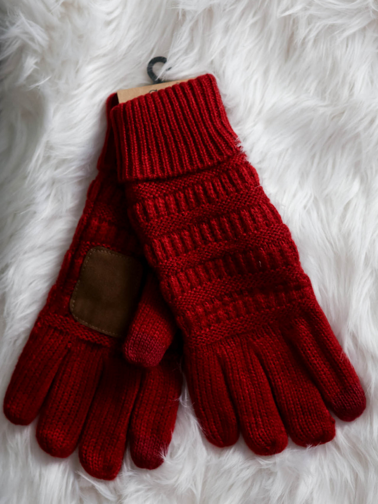 CC Glove Cable Knit Fleece Lining-Red