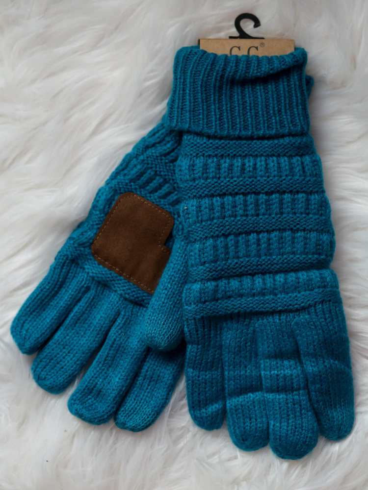 CC Glove Cable Knit Fleece Lining-Teal