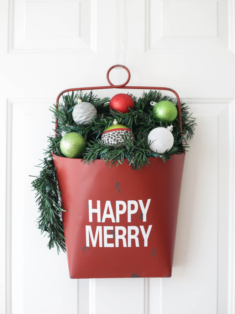 Metal Bucket- Happy Merry