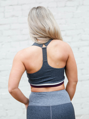 Grey Shades Colorblock Racerback Sports Bra