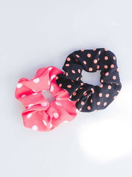 Orange & White Polka Dot Scrunchie
