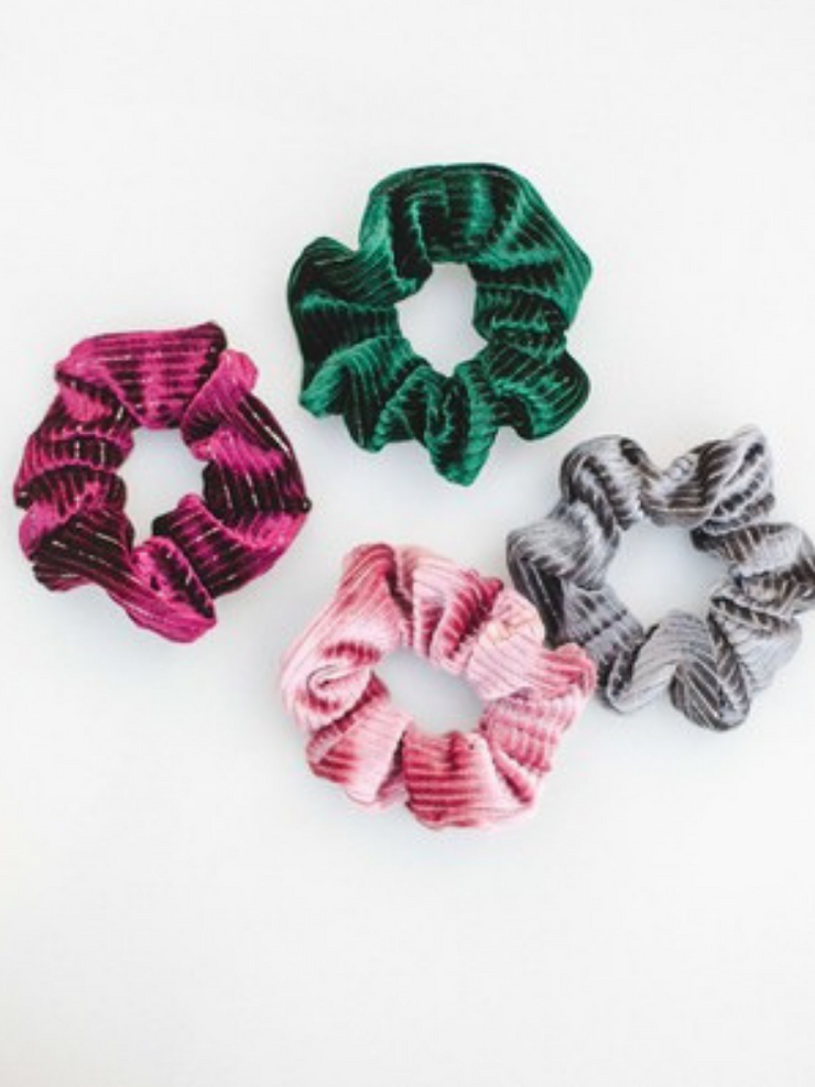 Velvet Striped Scrunchie- Grey