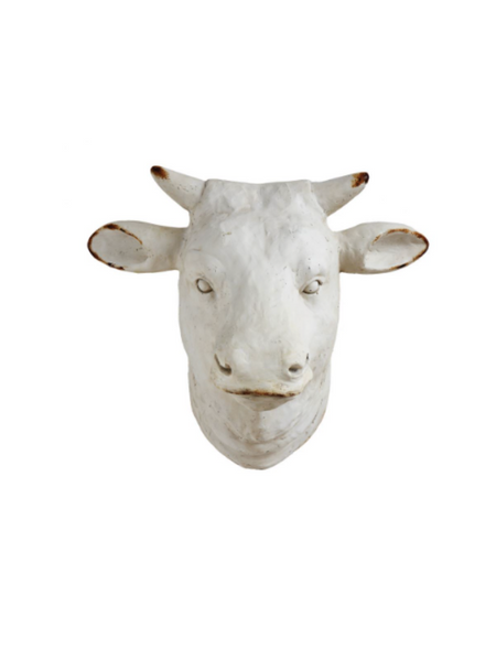 Distressed White Cow Head