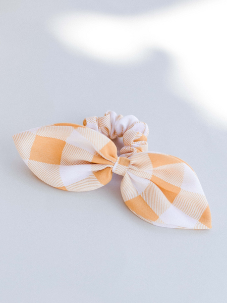 Yellow Gingham Bowtie Scrunchie