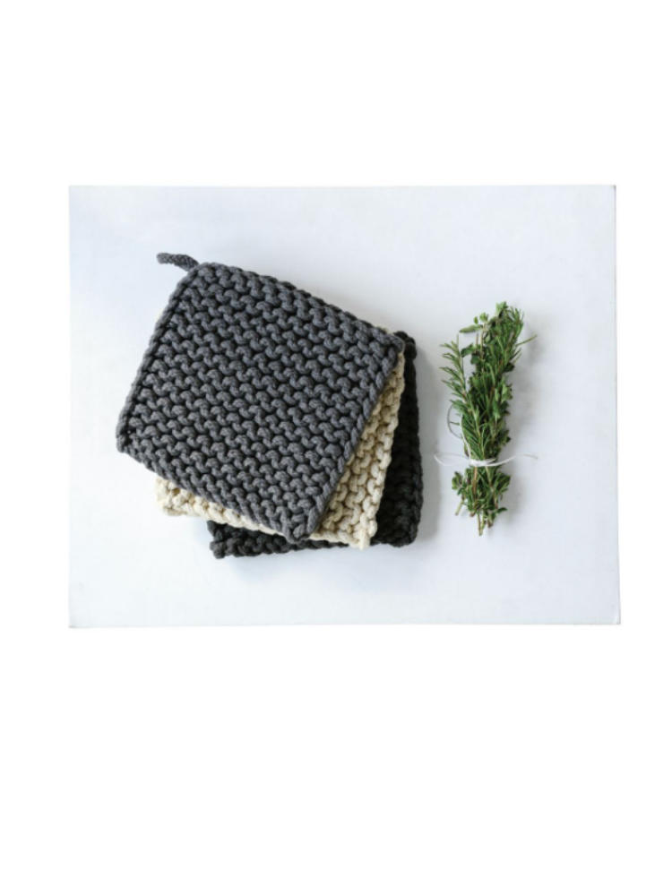 Crocheted Pot Holder-Grey