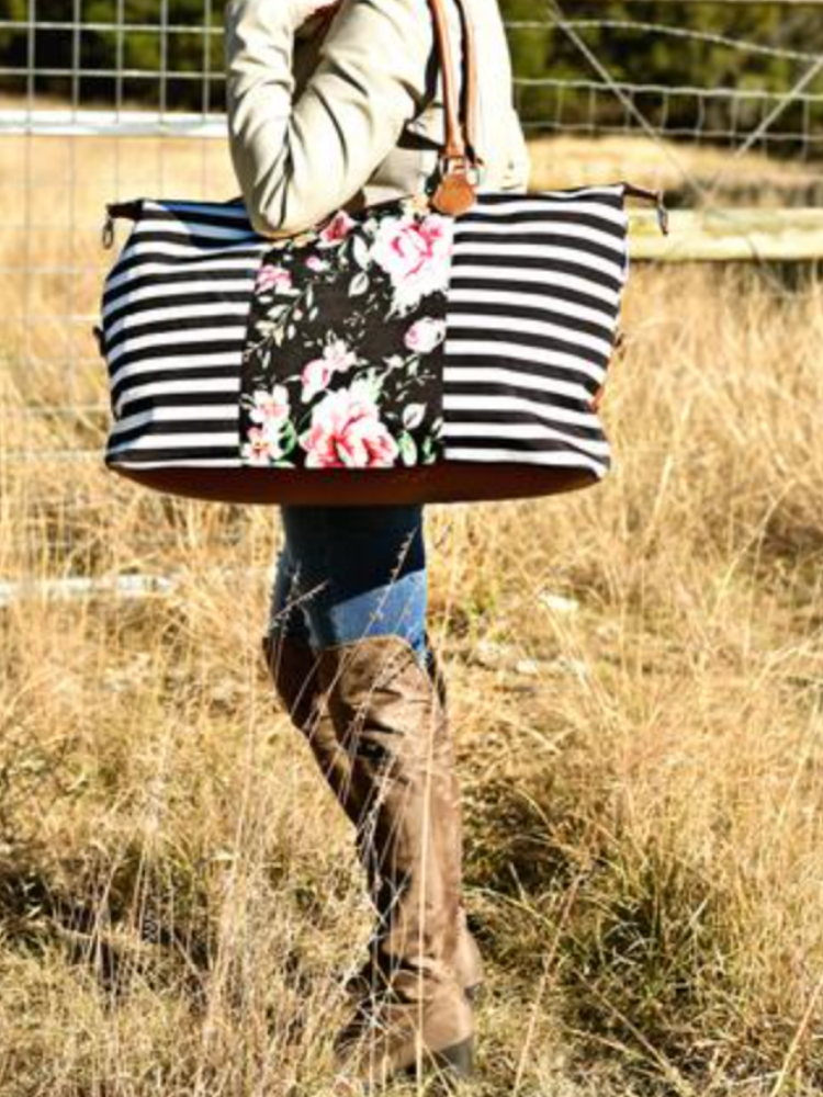 Girls Trip Weekender- Stripes & Floral
