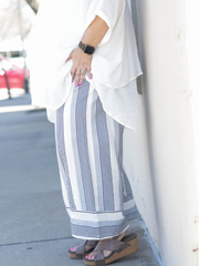Striped High Waisted Cropped Pants-Navy