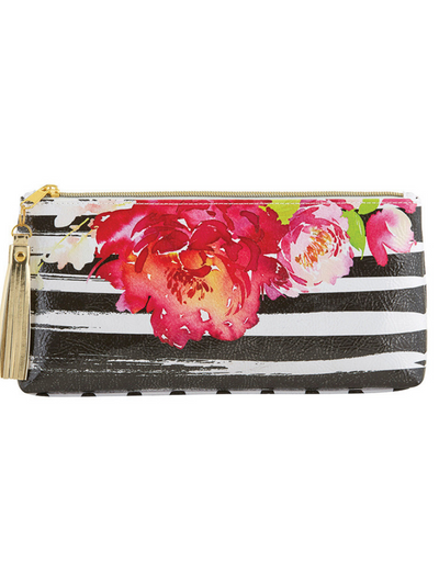 Small Oil Cloth Bag- Floral Black